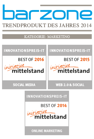 Barzone Award: Trendprodukt des Jahres 2014 in der Kategorie: Marketing